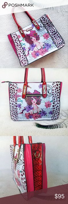 🥀👜Nicole Lee Sunny White Print Satchel👜🥀 This Fashion Forward NL Sunny White Print Satchel has Vibrant Gorgeous Colors & Features NL Sun Wht Print in both sides,colorful flowers & animal print decor.Made out of Faux Leather with decorative zipper accents that gives an edgy look, Gold Hardware, Outside Gold zipper in the back,polka dot NL logo inside lining,beautiful red handles that adjust up and down,inside zippered pocket,two open inside pockets & mid zippered pocket,very…