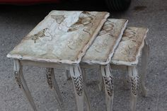 Decoupage Coffee Table, Decoupage Furniture, Paint Furniture, Upcycled Furniture, Furniture Makeover, Furniture Decor, Decoupage Ideas, Furniture Refinishing, Coffee Tables