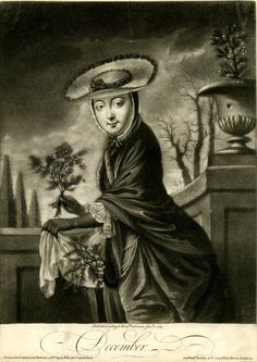 An English print depicting the personification of December, 1767; she is shown wearing warm clothes, holding a sprig of holly, evergreen branches in an apron, and there is mistletoe in an urn – all plants are symbols of winter. (British Museum)