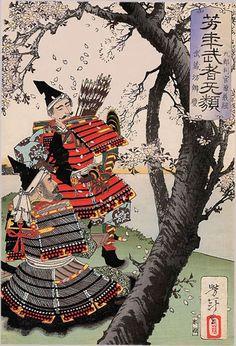 Yoshitsune and Benkei Viewing Cherry Blossoms (九郎判官源義経 武蔵坊弁慶) - Tsukioka Yoshitoshi