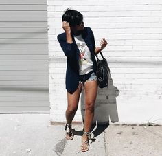 Work Outfits For African American Women Short Outfits, Chic Outfits, Fashion Outfits, Womens Fashion, Fashion Trends, Spring Summer Fashion, Spring Outfits, Autumn Fashion, Blazer And Shorts