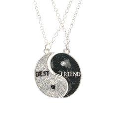 Lot de 2 colliers Meilleures amies motif Yin Yang