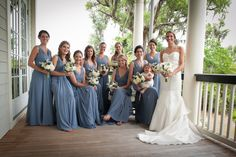 #Bridesmaids -- What a pretty blue color! See the wedding on SMP: http://www.StyleMePretty.com/south-carolina-weddings/bluffton/2014/01/24/rustic-bluffton-wedding-at-colleton-river-plantation/ Photography: Marcus Krause