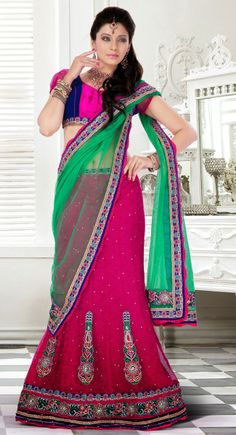 Voguish Pink Color Net Lehenga #Choli