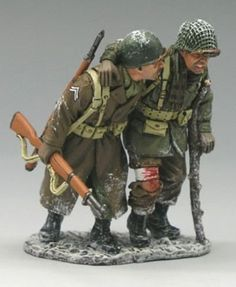 World War II U.S. Battle of the Bulge BBA022 Walking Wounded - Made by King and Country Military Miniatures and Models. Factory made, hand assembled, painted and boxed in a padded decorative box. Excellent gift for the enthusiast.