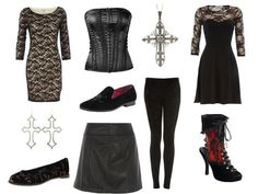 black lace, leather and silver crosses. Gothic fashions to shop for!