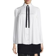 Marissa Webb Esther Tie-Neck Flowy Blouse (€370) ❤ liked on Polyvore featuring tops, blouses, white combo, white long sleeve top, white button front blouse, white tie neck blouse, tie neck blouse and ruched blouse