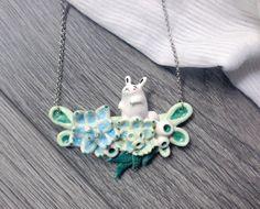 Ceramic necklace rabbit and succulents by msBIRDIEshop on Etsy #kawaii #etsy #etsyseller #handmade #etsyfinds #cute #cuteness #cutejewelry #rabbit #cuterabbit #succulent #succulentslove #succulent