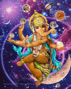 A unique art print of Lord Ganesha, remover of obstacles, juggling the worlds in his hands. He is also known as Ganapati.