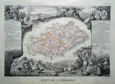 Antique Map of Herault - France dated 1846