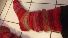 Karin Byom - Red Leftover Socks in Nalbinding / Needle-binding https://www.ravelry.com/projects/Tjaa/red-leftover-socks-in-nalbinding---needle-binding