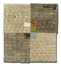 Contemporary Canadian artist Dorothy Caldwell has been inspired by kantha techniques and aesthetic. Her marks on Four Fields Meet combine to depict how humans, especially North Americans, have attempted to bring order to the landscape by imposing a grid of fences and roads.  * kantha bedcoverings are made in the easter Indian states of Bihar and West Bengal.
