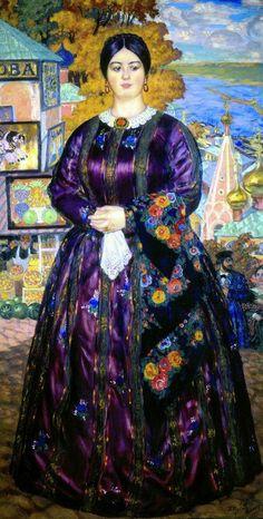 The Merchant's Wife   - Boris Kustodiev, 1915. (Such animated colour!)