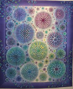 2015 Tokyo International Quilt Festival, incredibly detailed Mariner's compass stars.  Photo by Koala's Place.