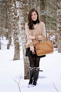 Hunter Boots with skirt and sweater. Great for NY