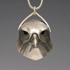 handcrafted silver animal totem jewelry, kestrel totem jewelry