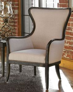 Sandy Wing Chair, Sandy White - Neiman Marcus