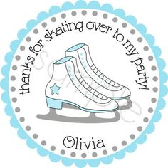 Ice Skates Personalized Stickers - Party Favor Labels, Address Labels, Gift Tag, Birthday Stickers - Choice of Size. $6.00, via Etsy.