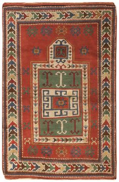 Kazak Rug, Caucasus, Modern - This beautifully detailed Caucasian Kazak rug features a traditional mihrab medallion filled with a diverse selection of polychromatic symbols. The lavishly colored composition revolves around a coffered mihrab medallion adorned with a quirky Memling-style gul, double ram's horn motifs & soft white strap work borders that feature interconnected elibelinde motifs with distinctive recurving arms... Size: 3 ft 7 in x 5 ft 4 in
