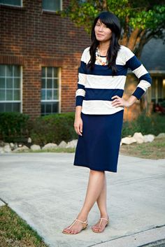 Navy / White Striped Shirt - Navy Pencil Skirt