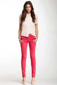 I have these exact jeans in neon-lime green and I love this color too!! Must have....
