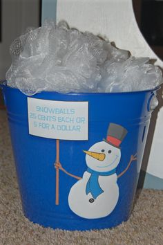 Use white loofahs from the dollar store. Snowballs for the snowman bean bag toss
