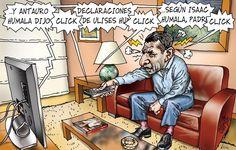 """El trazo de Carlín sobre el alarmante  interés de la prensa en Perú por el lado """"wacky"""" de la familia Humala: Antauro, Isaac y Ulises son mas requeridos que cualquier ministro o funcionario gubernamental."""