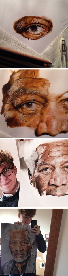 Nope. That's not a photograph of Morgan Freeman. It's a painting by 18-year-old artist Jack Ede.