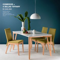 Comedor y sillas #Tiffany: Vidrio de color blanco y madera natural con sillas de madera natural y tela. #Dinner #HomeArticles #Home #HomeDesign #Decoración