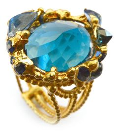 Archipelago « Polly Wales handcrafted ring - London Blue Topaz and cut blue sapphires.