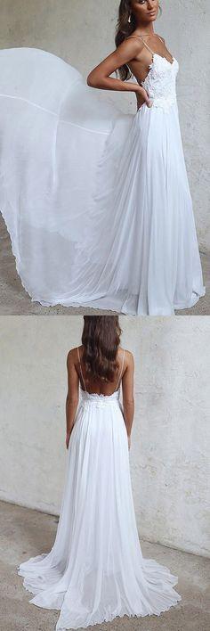 Elegant A-line Straps White Long Chiffon Beach Wedding Dress