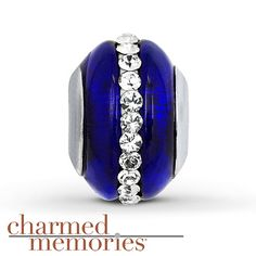 Charmed Memories Murano Glass Charm Sterling Silver Stock number: 811412408 This Charmed Memories® fashion jewelry charm features blue Murano glass with clear SWAROVSKI ELEMENTS. The charm is crafted of sterling silver. $39.99