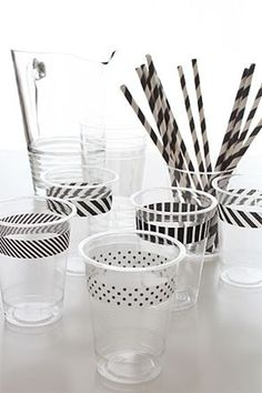 Black and white washi tape on party cups. I have so much washi tape we could do this for any party with any color of washi tape. Party Fiesta, Festa Party, Party Party, Party Drinks, Black White Parties, Black And White Party Decorations, Do It Yourself Inspiration, Throw A Party, Tape Crafts