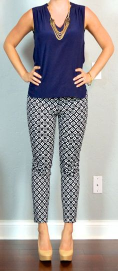 Another cute way to top the printed pants, navy silk blouse. More likely than a white tee for me.