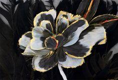 Appliqué flower motif of cock, goose, ostrich and chicken feathers created by Maison Lemarié, Paris (c) Vincent Lappartient for Maison Lemar...