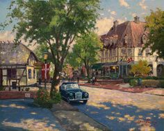 Solvang, is a bit of Denmark right here in California. I found the old world flavor of the town deeply romantic, and made my painting a tribute to my lovely wife, Nanette.