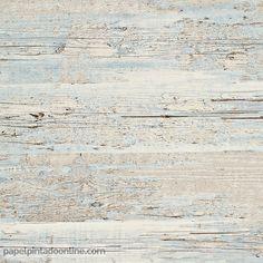 Papel Pintado Esseantially Yours 47530 madera desgastada con apariencia vintage en tonos azul claro y beige.