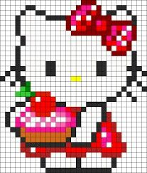 Hello Kitty With a Cake Cross Stitch or Perler Bead Pattern