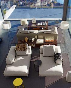 Wohnideen cream chaise lounges glas fenster