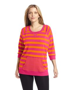 Jones New York Womens Plus-Size 3%2F4 Sleeve Scoop Neck with V-Neck Rib and Po