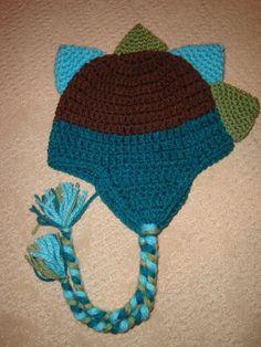 Custom Crochet Spiky Dino Earflap Beanie Hat  So cute Jailey Bugs