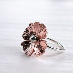 Poppy Ring  hammered Copper Sterling silver  by BarronDesignStudio