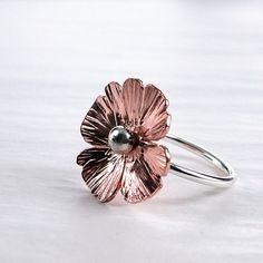 Ring hammered Copper Sterling Pretty Poppy by BarronDesignStudio, $36.00