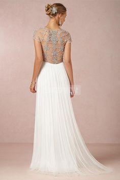 A-line V-neck Tulle Beading See-through Back Gorgeous Beach Wedding Dress