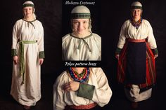 Pskov pattern dress; linen, silk Panova skirt and apron according to sources from Staraya Ryazan