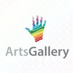 Logo Design of a colorful palm or human hand made from swooshes For Sale On StockLogos | Arts Gallery logo