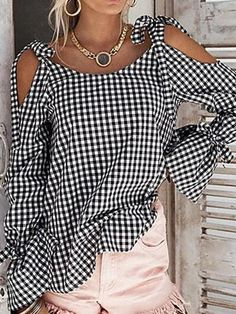 - - Women Plaid Blouse Spring Cold Shoulder Long Sleeve Tie Checked Tops Casual Loose Streetwear Tops Shirt Source by Blouse Styles, Blouse Designs, Mode Monochrome, Look Fashion, Fashion Site, Fashion Clothes, Men Fashion, Latest Fashion, Fashion Trends