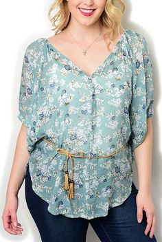 DHStyles Women's Plus Size Sheer Floral Flowy Top Belt-1X - Teal,Ivory