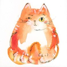 """Small Original Watercolor Painting """"Cute Cat"""" - Size: 4"""" x 3.9"""" x 3.9"""" - Pen & Watercolor on Etsy★❤★"""