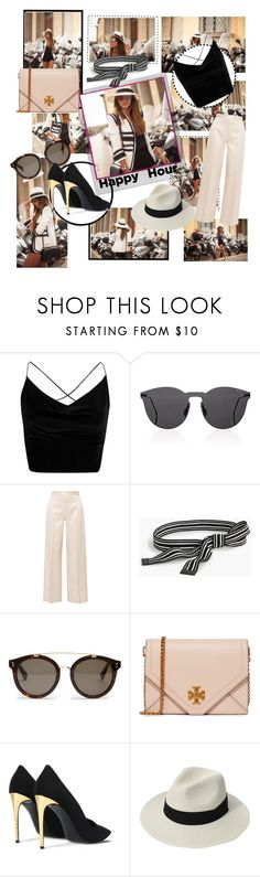 """""""Happy Hour"""" by evelinvargas ❤ liked on Polyvore featuring Boohoo, Illesteva, Polaroid, The Row, J.Crew, STELLA McCARTNEY, Tory Burch and happyhour"""
